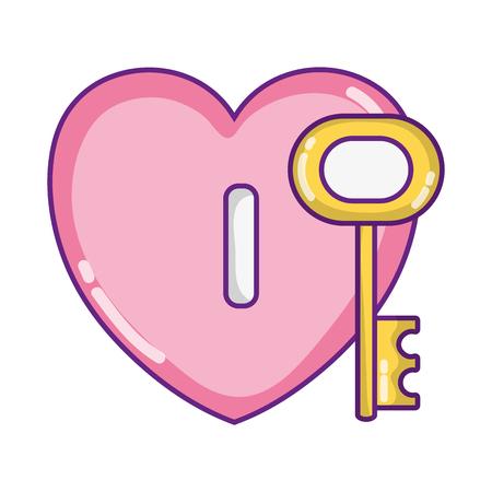 heart padlock style with key access vector illustration