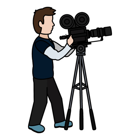 color professional cameraman with camcorder digital equipment vector illustration