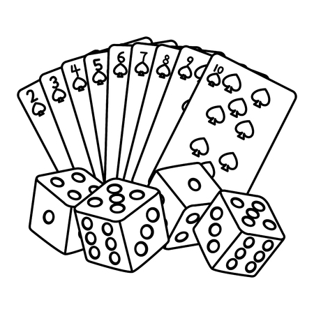 line spades poker cards and dices game vector illustration Illustration