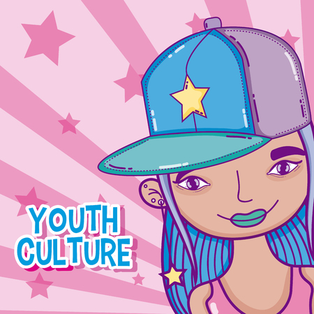 Fashion millenial young woman with accesories cartoon vector illustration graphic design Vectores