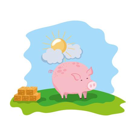 pig farm animal with straw bale Stock Photo