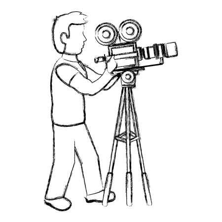 grunge professional cameraman with camcorder digital equipment vector illustration
