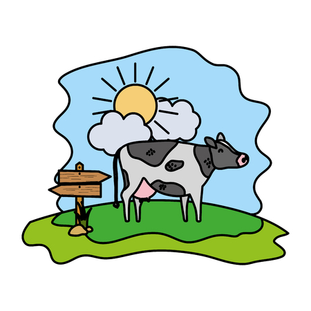 color cow farm animal with wood notices vector illustration