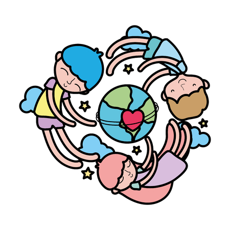 color children sleeping around earth planet with heart vector illustration