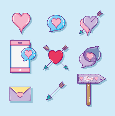 Set of love and hearts cute cartoons vector illustration graphic design