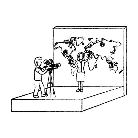 grunge cameram film news and woman reporter vector illustration