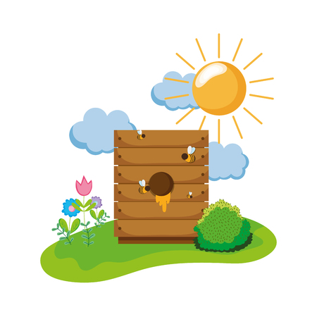 honey farm inside wood box and bees