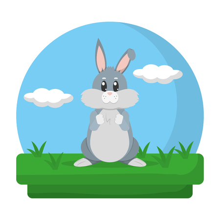 cute rabbit animal standing in the landscape