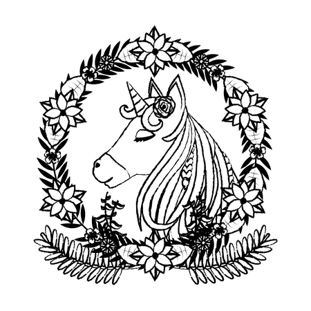 grunge unicorn inside circle branches flowers and leaves Stock Photo