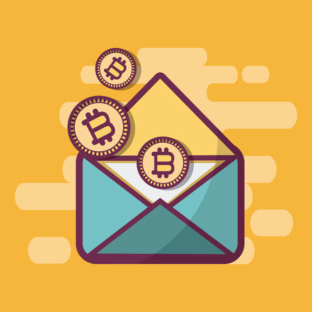 Email with bitcoins symbols vector illustration graphic design Ilustração