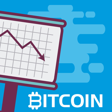 Bitcoin decrease on whiteboard vector illustration graphic design