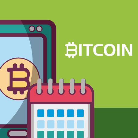 Smartphone with bitcoin and calendar vector illustration graphic design