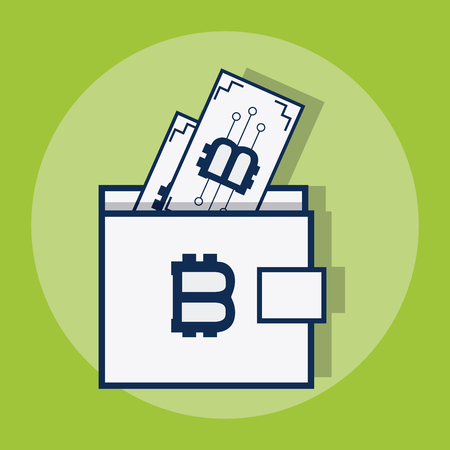 Bitcoin wallet symbol over green background vector illustration graphic design Ilustração