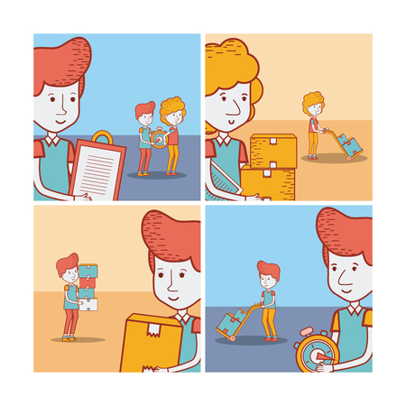 Set of delivery cards with courier cartoon vector illustration graphic design