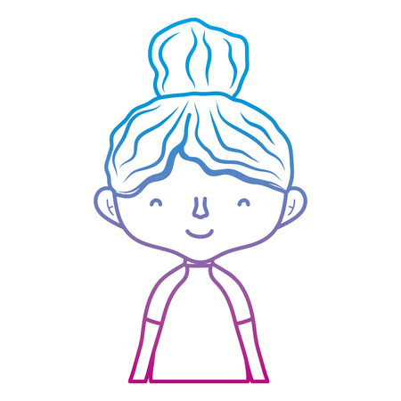 degraded line happy woman with hairstyle design and blouse vector illustration
