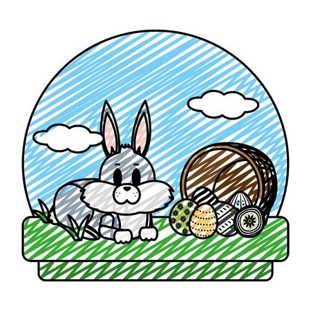 doodle rabbit lying and hamper with eggs easter vector illustration