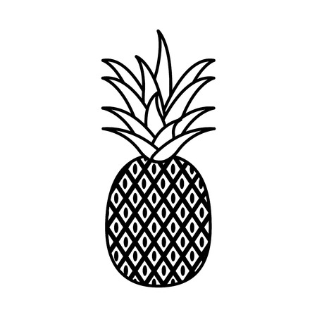 line delicious pineapple organic fruit nutrition vector illustration Illustration