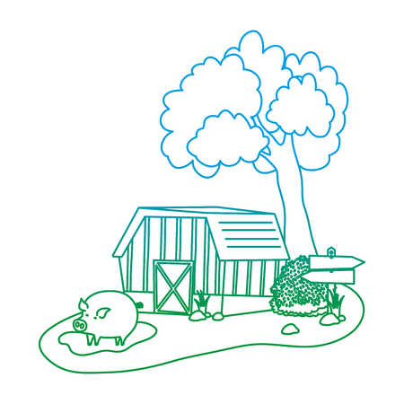 degraded line house farm with pig animal in the swamp vector illustration