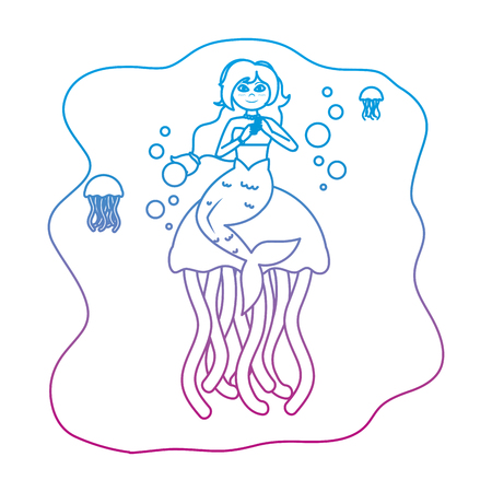 degraded line siren woman with jellyfishes animal in the sea