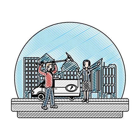 doodle journalist van and cameraman with microphone reporter vector illustration