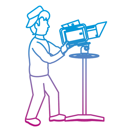 degraded line professional cameraman with camcorder video equipment vector illustration