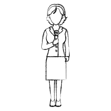 grunge elegant woman reporter with hairstyle and clothes vector illustration