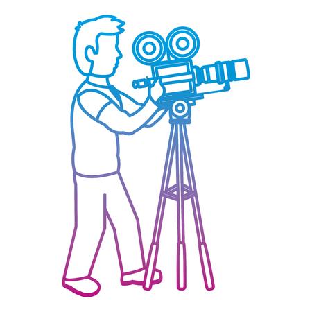 degraded line professional cameraman with camcorder digital equipment vector illustration