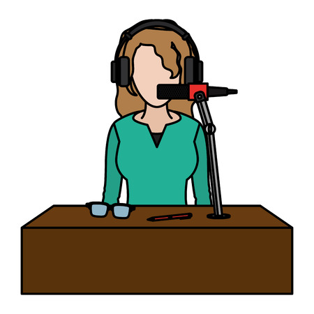 color woman reporter news with headphone and microphone vector illustration