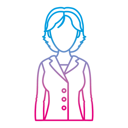 degraded line elegant woman with short hair and blouse vector illustration