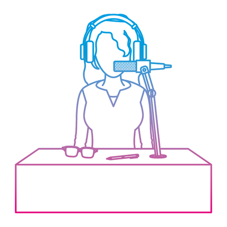 degraded line woman reporter news with headphone and microphone vector illustration Illustration