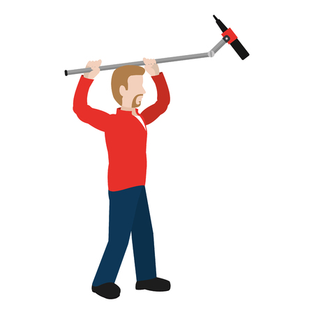 cute cameraman with professional microphone equipment vector illustration