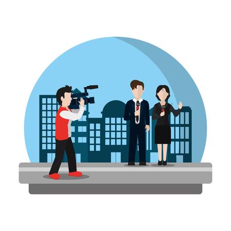 caméscope caméscope film aux journalistes illustration vectorielle partenaire Vecteurs