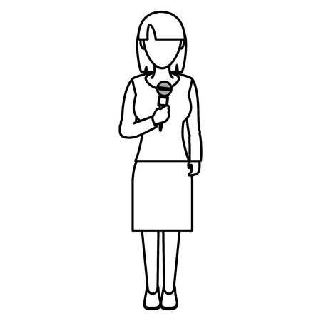 line elegant woman reporter with hairstyle and microphone vector illustration Ilustração