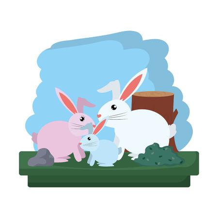 family rabbit wild animal reserve vector illustration