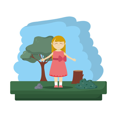 happy girl in the forest ecology reserve vector illustration