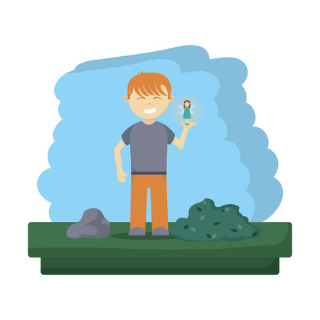 happy boy with pretty fairy in the forest vector illustration