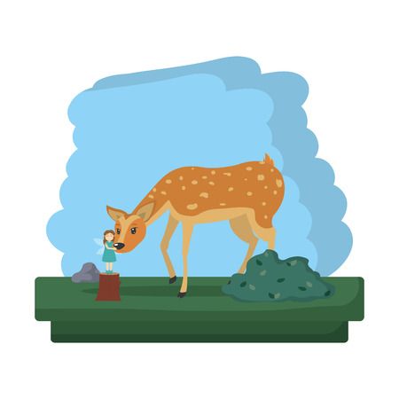 deer animal and fairy to forest reserve vector illustration