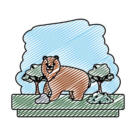 doodle bear wild animal toforest reserve vector illustration