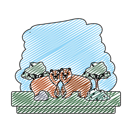 doodle couple bear wild animal reserve vector illustration