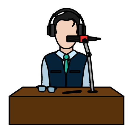 color professional journalist with microphone object and clothes vector illustration