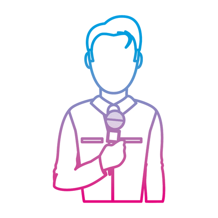 degraded line professional journalist with elegant clothes and microphone vector illustration