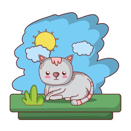 kawaii cat cute pet animal vector illustration