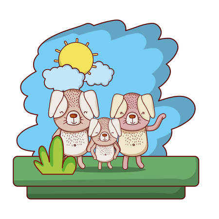 family dog nice pet animal vector illustration