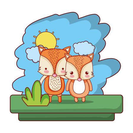 couple fox cute wild animal vector illustration 일러스트