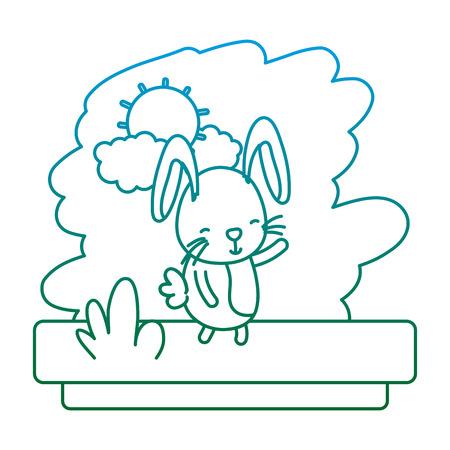 degraded line happy rabbit cute wild animal vector illustration