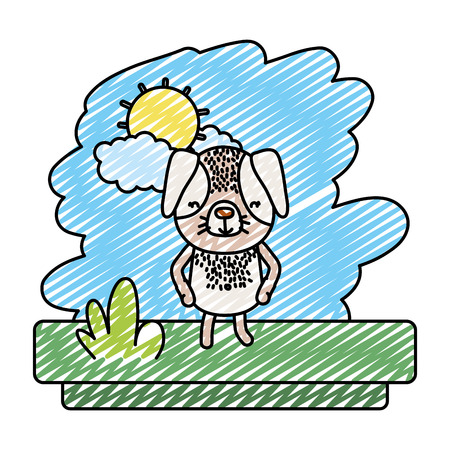 doodle kawaii dog nice pet animal vector illustration 일러스트