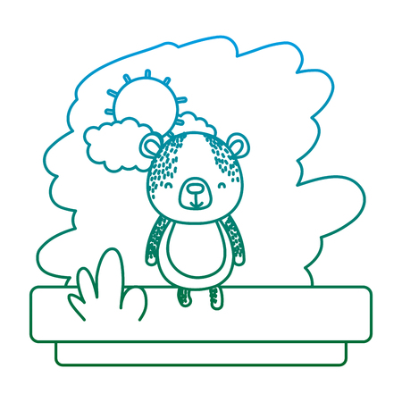 degraded line kawaii bear nice wild animal vector illustration 일러스트