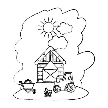 grunge house farm with tractor and handcart with straw bale vector illustration