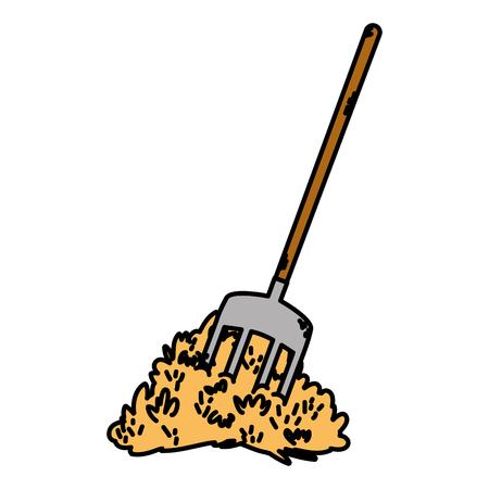 color straw bale and fork farm equipment vector illustration Illusztráció