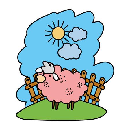 color sheep farm animal indide wood grillage vector illustration Illustration